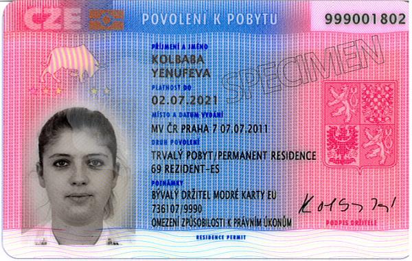 průkaz o povolení k trvalému pobytu