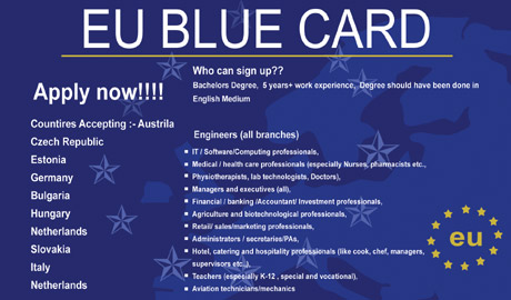 modrá karta pro cizince